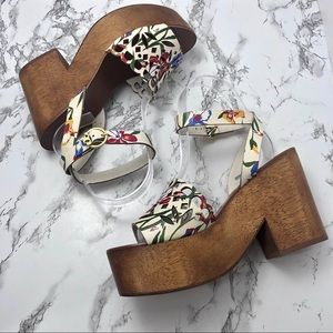 NIB Tory Burch May Floral Wooden Platform Sandals